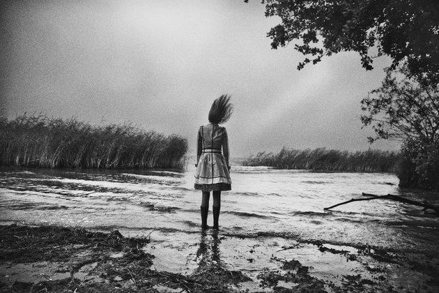 Girl with flying hair by Johan Strindberg