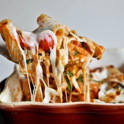 Creamy Caprese Pasta: fresh mozzarella, grape tomatoes and basil ribbons.