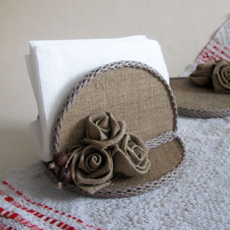 burlap napkin holder rustic napkin holder natural linen country decor mom gift