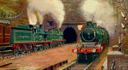 "Woodhead Tunnel in around 1910, with an express double-headed by two Parker Class ""2"" (LNER Class ""D-7"") 4-4-0s with Robinson tenders entering the tunnel, and another headed by Robinson Class ""8"" (LNER Class ""C-4"") Atlantic No. 264 emerging from it."