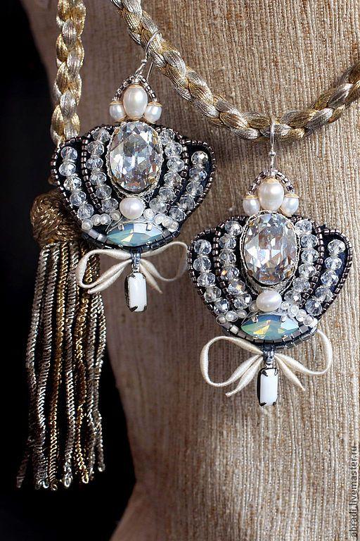 Купить Серьги-короны. - серьги, корона, серебро, стразы, Сваровски, длинные серьги, серебряный, серебряный