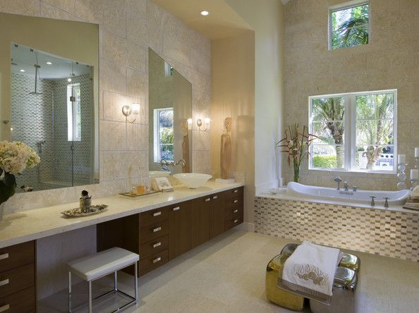 Beige Modern Bathroom - Modern Bathrooms - Photos