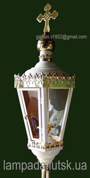 Lantern Easter procession / Фонарь Пасхальный процессионный №13 © Volodymyr Galkun (4 цвета: белый, красный, синий, зелёный – порошковая покраска) Латунь, выпиловка, гравировка, стекло, камни. На древке. Н - 71 см. В - 25 см.