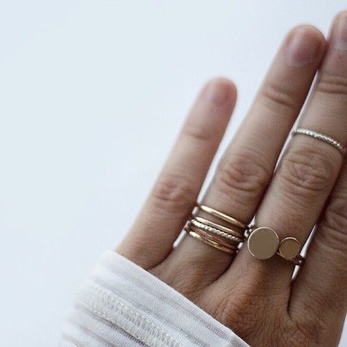 Gold stacking rings.