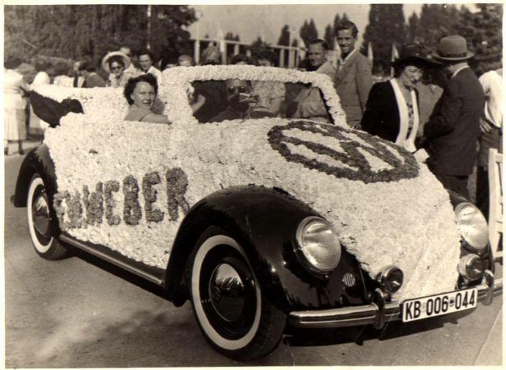 Flowered Karmann. Early Karmann dressed up to promote a VW dealer. Hard to tell the year of this one. Source: Strictly Vintage VW's