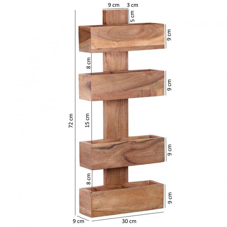 FineBuy Zeitungsständer Massivholz Sheesham 2 Ablagefächer Zeitschriften-Ständer Design Prospekt-Halter Landhausstil 39868