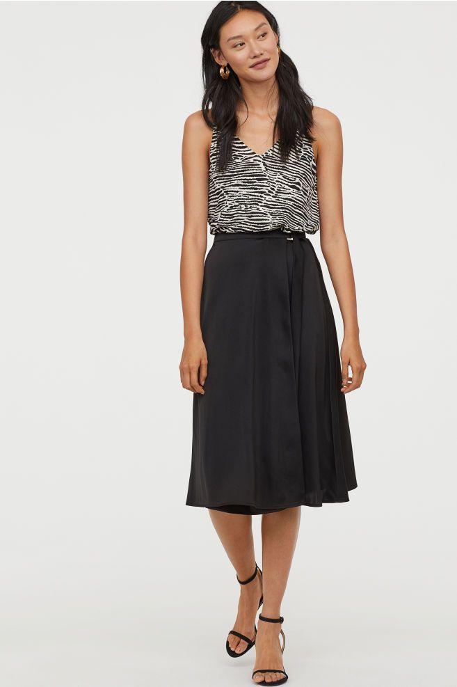 Wrap Front Skirt Black Ladies H M Us Printed Pleated Skirt Green Pleated Skirt Black Floral Skirt