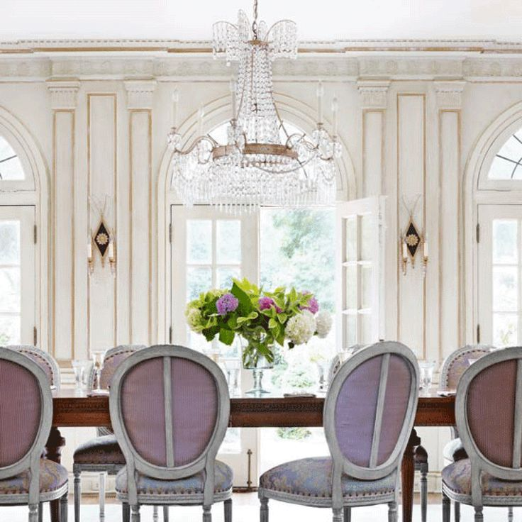What A Beautiful Dining Room With White Guilded Millwork The Purple Fabric On Chairs Just Compliment Whole Space