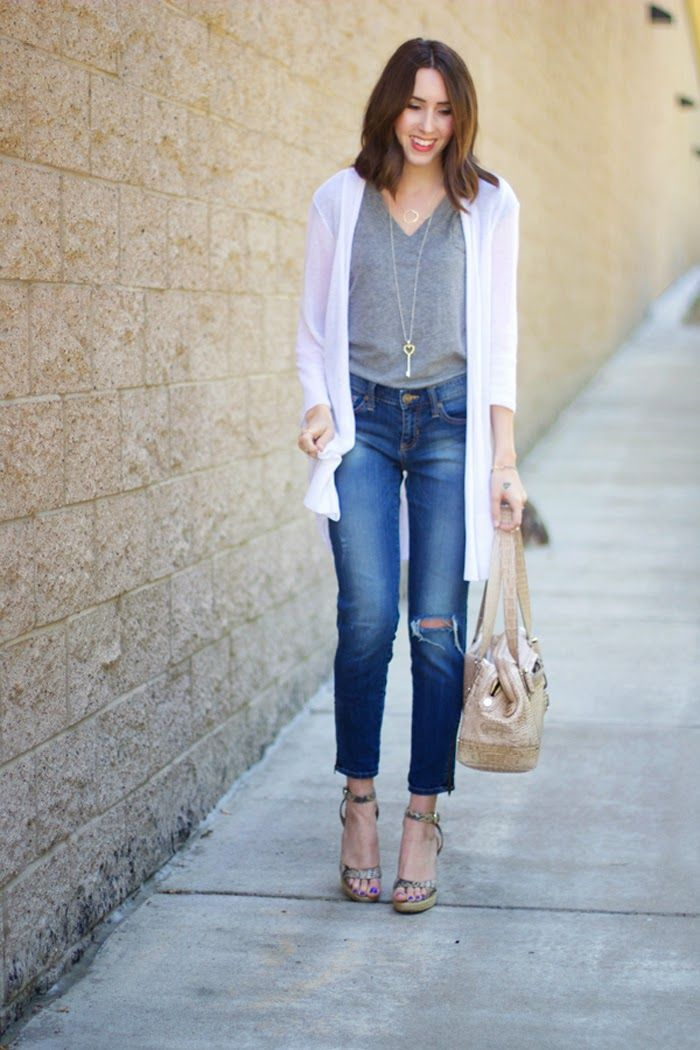 Long White Cardigan | Grey Tee | Ripped Jeans