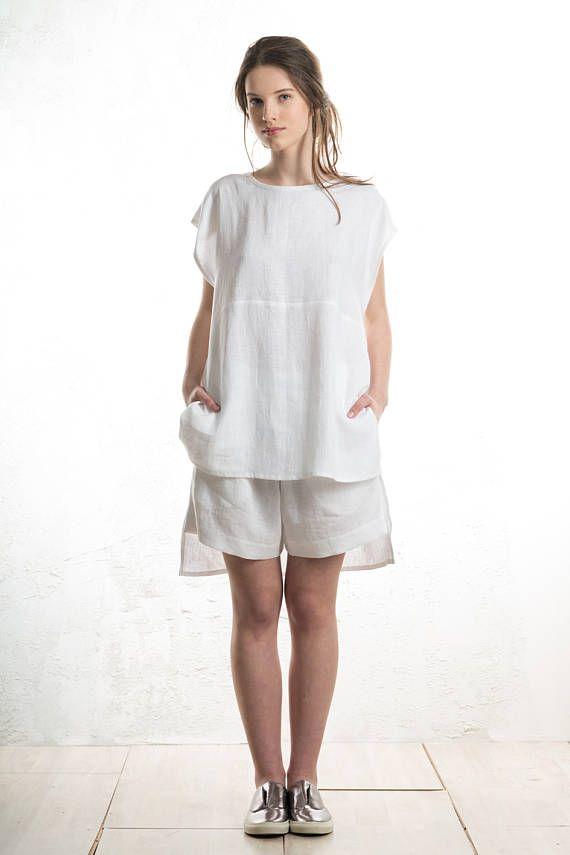 Débardeur lin blanc pour les femmes réservoir de lin haut de