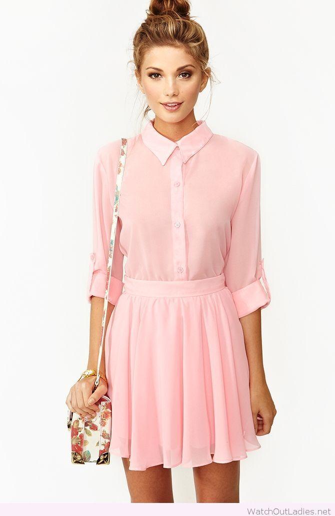 Light pink skirt and shirt