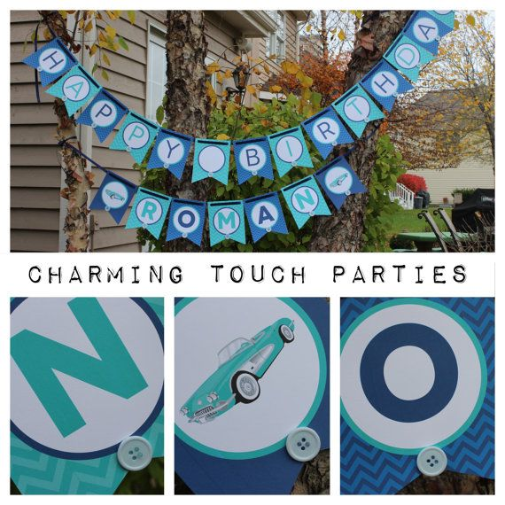 Custom blue ombre chevron Happy Birthday by CharmingTouchParties, $35.00