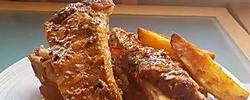 Costillas de cerdo con miel y mostaza, a la barbacoa