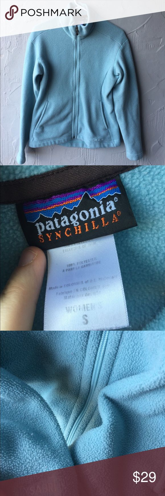 Patagonia light blue zip up jacket size small Women's light blue (almost turquoise) full zip up jacket. Features two pockets. Size small.  In the style synchilla  (synthetic chinchilla) . Worn but still has tons of life left. Has no flaws. Smoke free home Patagonia Tops Sweatshirts & Hoodies