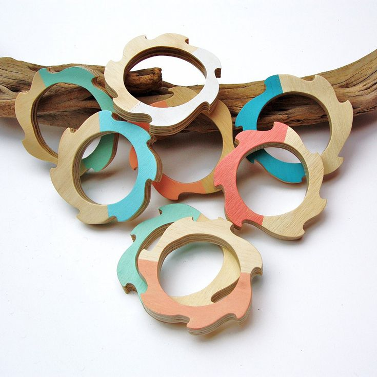 One Sunday Morning – Eddy Bangles. Hand cut and painted, using scrap plywood • Available at thebigdesignmarket.com