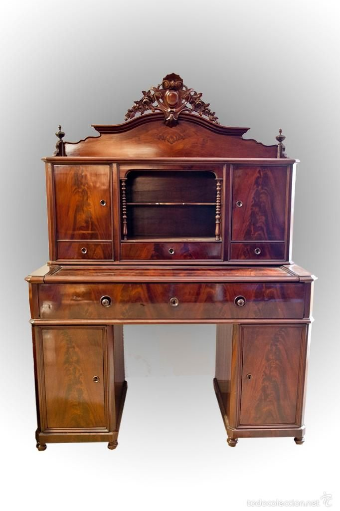 Escritorio aparador biedermier foto 1 coleccion for Muebles antiguos barcelona