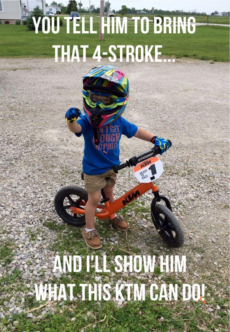 Our little motocross racer loves his KTM!!