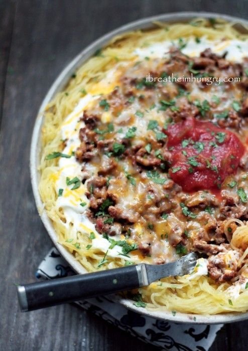 Cheesy Chili Spaghetti Squash Casserole / #lowcarb shared on https://facebook.com/lowcarbzen