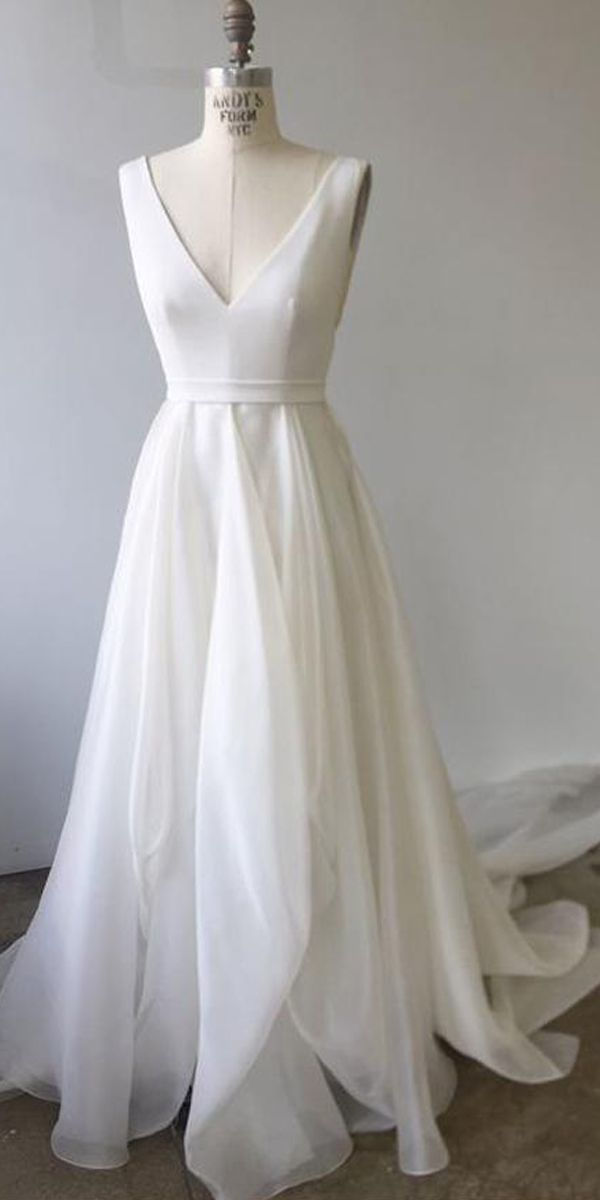 A-LINE V NECK IVORY PROM DRESSES WEDDING DRESSES WITH COURT TRAIN PM233 #wedding…