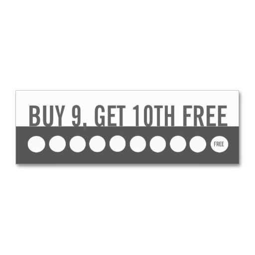 Customer loyalty business card (buy 9 get 1 ,free ...