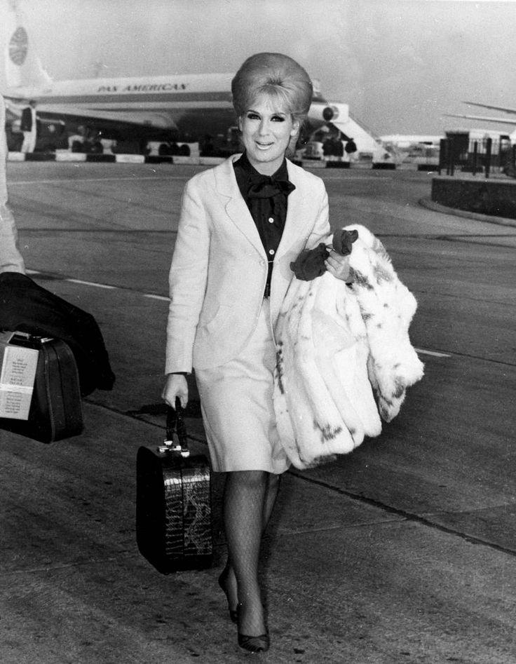 Dusty Springfield arriving in London, 1964.