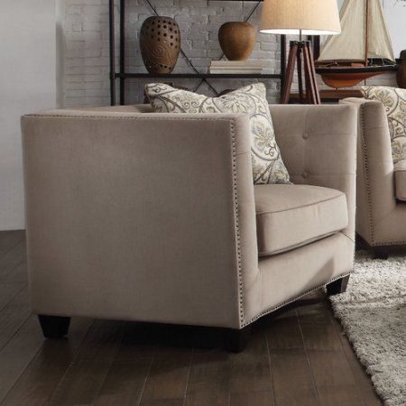 Acme Juliana Down Feather Filled Chair with 1 Pillow, Beige Fabric