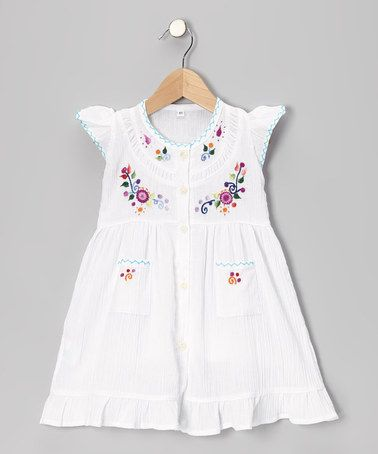 Another great find on #zulily! White Embroidered Santy Dress - Infant, Toddler & Girls #zulilyfinds