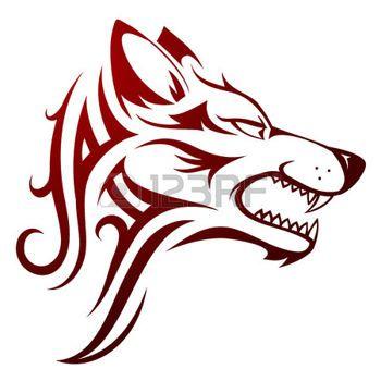 celtique: Vector illustration avec tête de loup tatouage