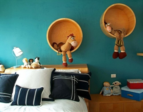 Storage containers on wall, cute for a kid's room.