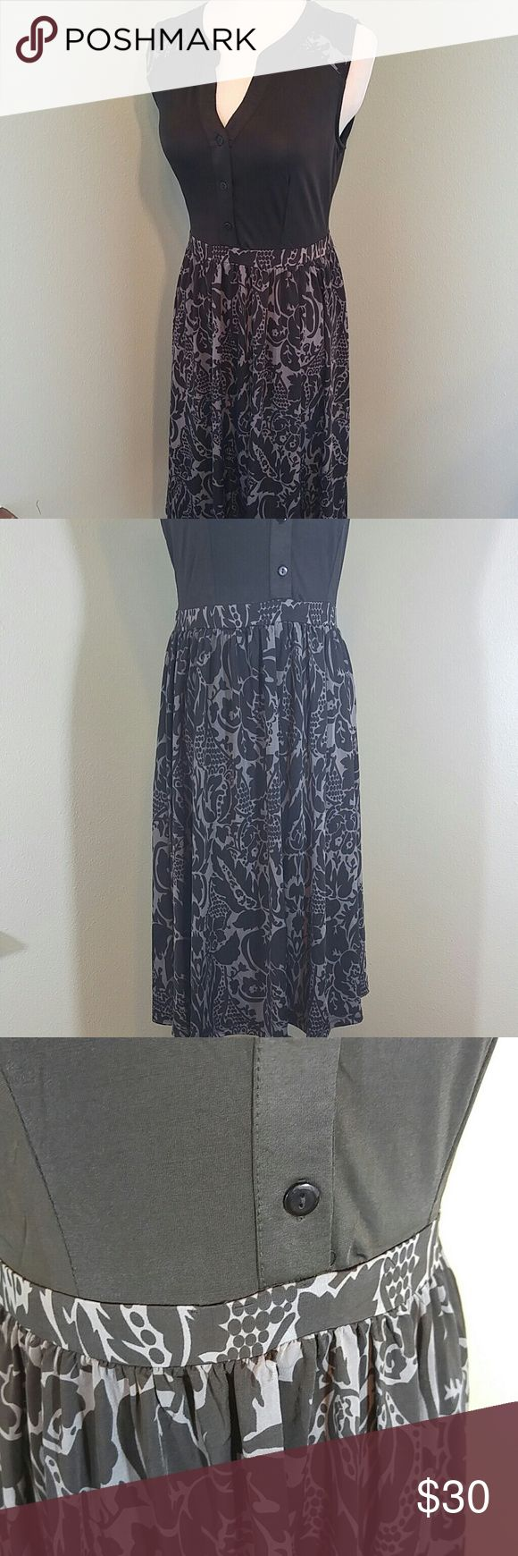 "Black and gray damask midi dress Flowy and comfortable. NWT! Polyester, spandex. 17.5"" pit to pit ,15"" across waist before stretch. 36"" length. reborn Dresses Midi"