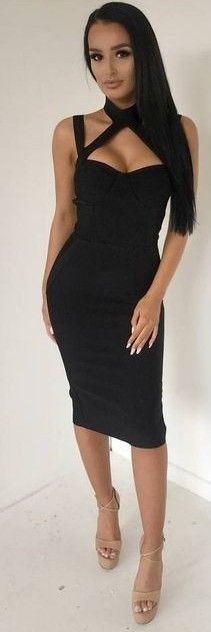 #fall #trending #outfits | Black Bandage Dress