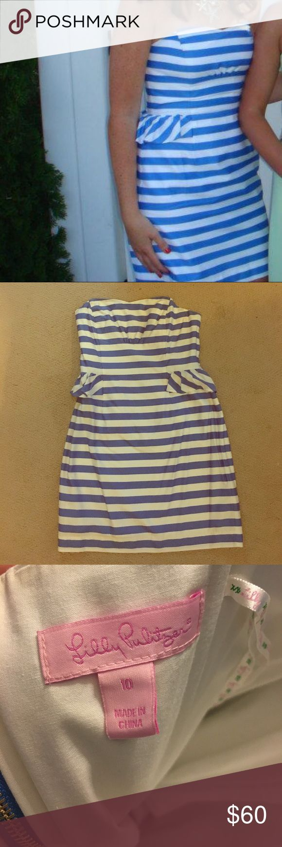 Lily Pulitzer Striped Cocktail Dress Adorable Lily Blue and White striped cocktail dress with sweetheart strapless neckline and ruffle detail at waist. Fully lined with built in boning. Perfect summer dress! True to size. size 10; freshly dry cleaned Lilly Pulitzer Dresses Mini