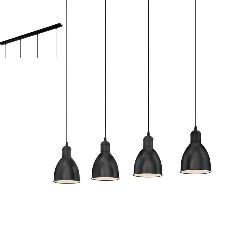Eglo lighting priddy vintage 4 light ceiling bar pendant in black finish 49466