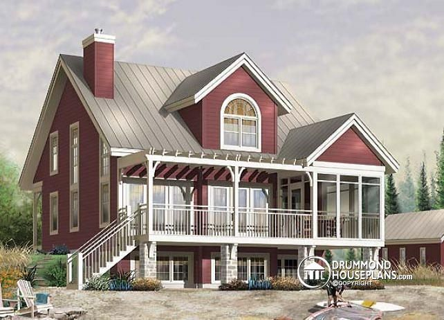 W3937 3 bedroom country cottage with mezzanine and open for Mezzanine house plans