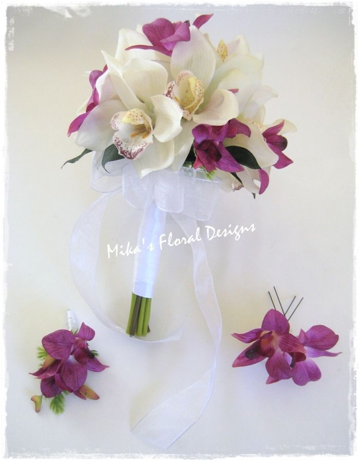 Orchid Wedding   Real Touch Calla Lily and Stephanotis Wedding Flower Arrangements