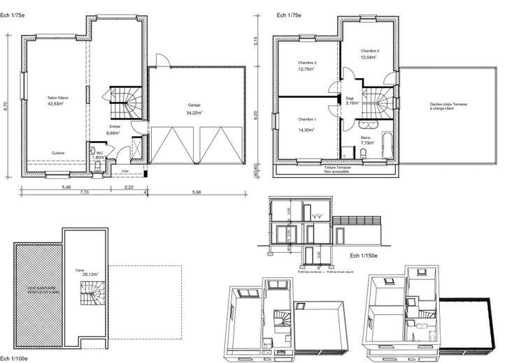 plans interieurs notre maison toit plat 105 m2 par. Black Bedroom Furniture Sets. Home Design Ideas