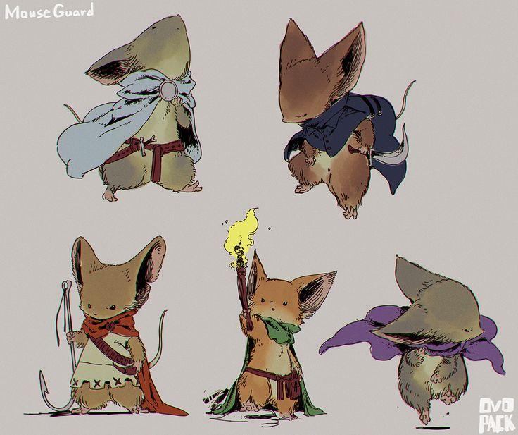 MOUSE GUARDのネズミ可愛すぎて、真似て描いてみた。(デザインはテキトーなので目を瞑って欲しい!)今月コミックの和訳が発売なので楽しみだ・・・。