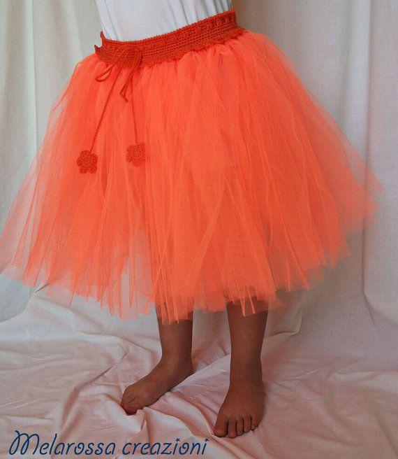 Gonna tutù arancione in cotone e tulle abbigliamento bambina/ragazza fatto a…