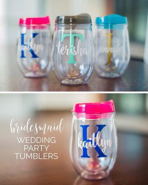 Wine Tumbler Personalized Bridesmaid Gift Bachelorette Party Monogrammed
