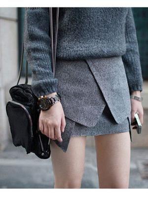 Grey Origami Skirt Choies
