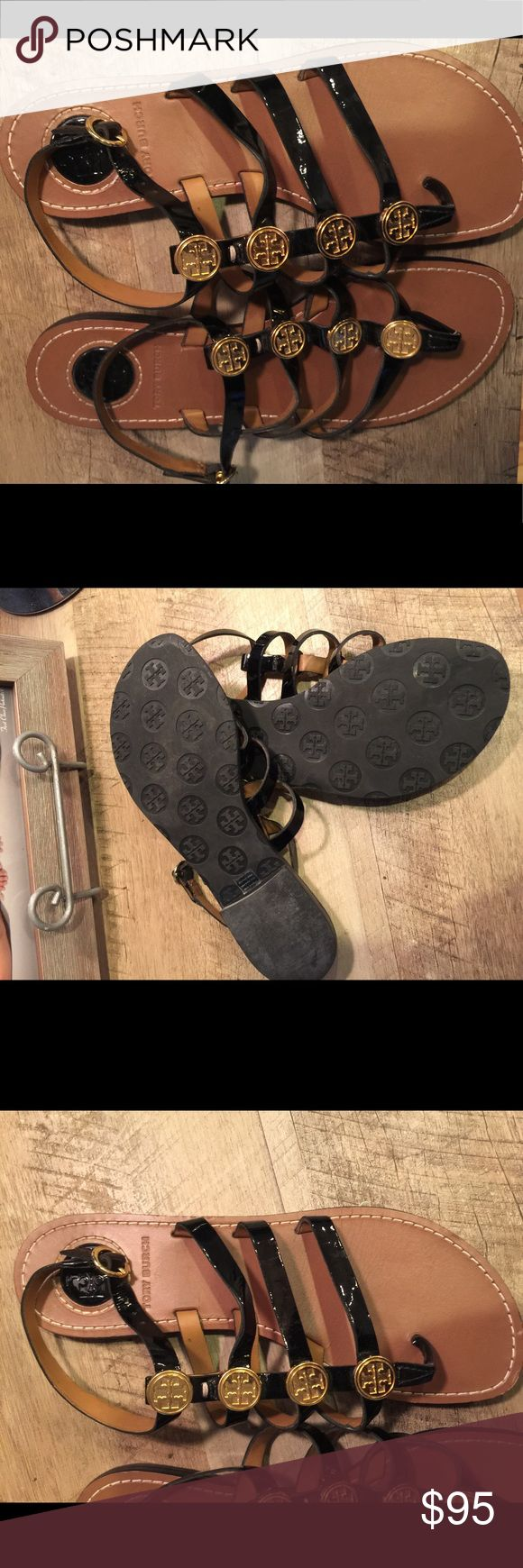 Tory Burch new black shoes New few minor scrapes on bottom never worn. Tory Burch Shoes Sandals