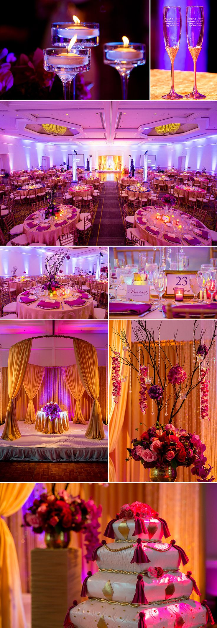 Indian table decorations - Reena Romit San Jose Fairmont Indian Wedding Reception Via Sunjayjk