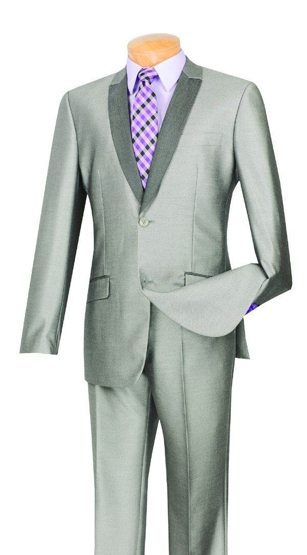 GRAY SLIM FIT MEN'S FASHION SILM SUITS SHARK SKIN