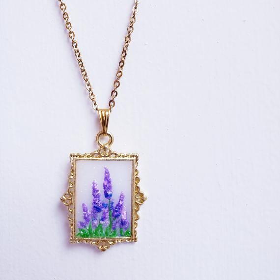 Lavender Necklace Handmade Jewellery Floral Necklace Flower Jewellery Polymer Clay Painting 815amuk Enchanted Garden Handmade Jewelry