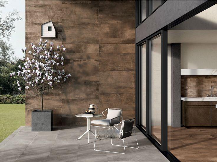 faade extrieure de maison contemporaine en cramique aspect mtal gamme intramuros coloris rust pour - Carrelage Pour Facade Exterieure