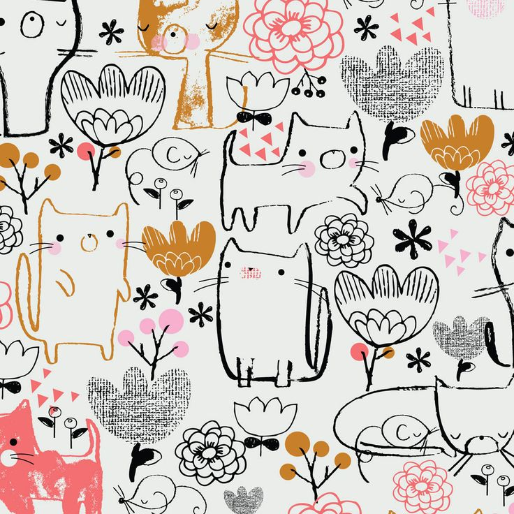 illustration / whimsical linework [ jillian phillips . colour: black . hot peach . mustard . white ]