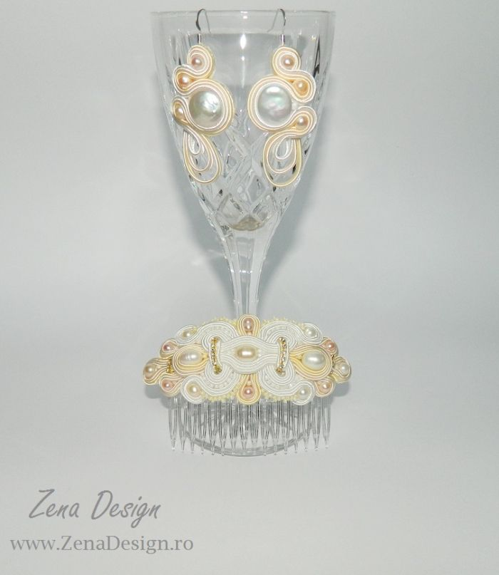 Soutcahe jewelry, Jewelry for the bride, soutache Combs, Combs for hair bride,– Zena Design