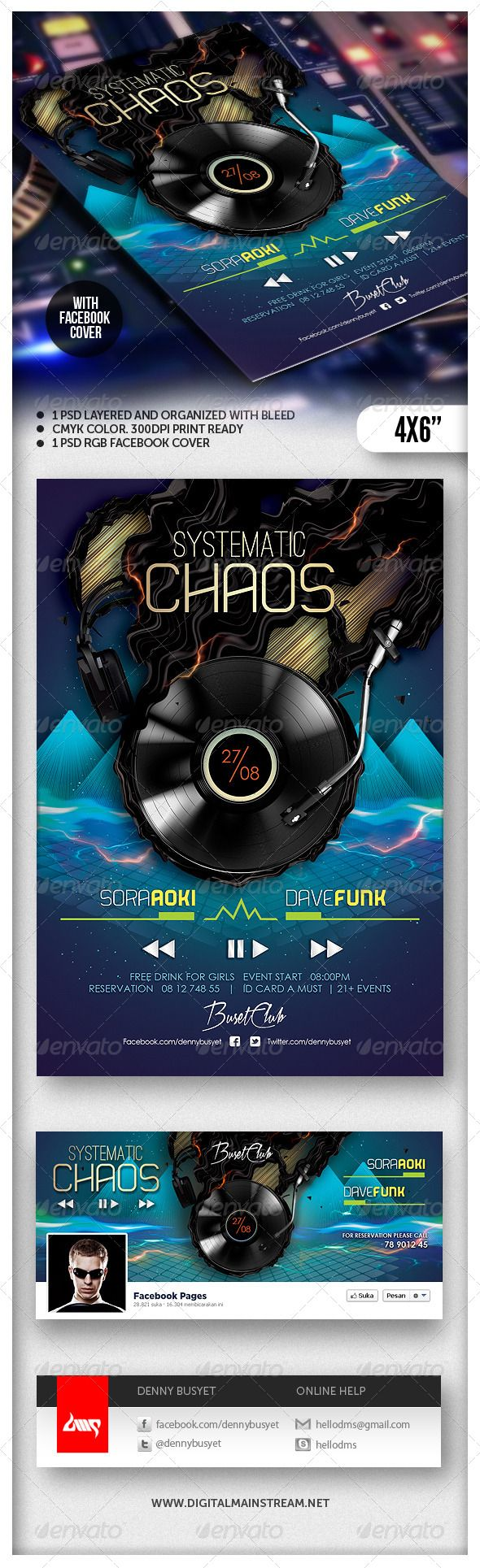 Systematic chaos nightclub flyer template adobe for Adobe photoshop brochure templates