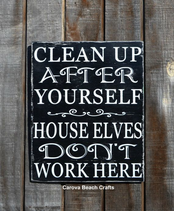 Fun House Elves Cleaning Wood Sign Home Decor Wall Decor House Sign Rustic Wood By