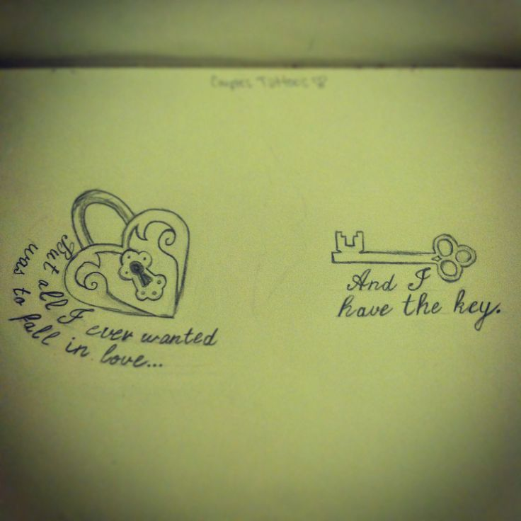 Tattoo design for couples inspired from a padlock drawing I found on here.